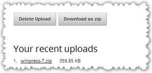 Удалить с сервера, скачать архив