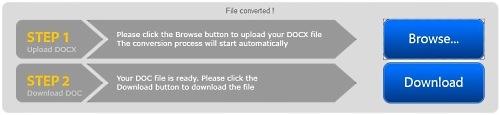 бесплатный Конвертер DOCX в DOC: шаги 1,2